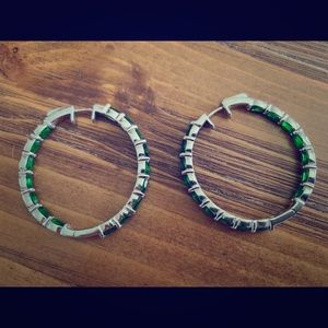 Silver Hoop Earrings with Emerald Colored Stones